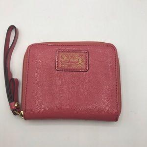 Coach Poppy Pink Melon Zip Around Wallet Wristlet